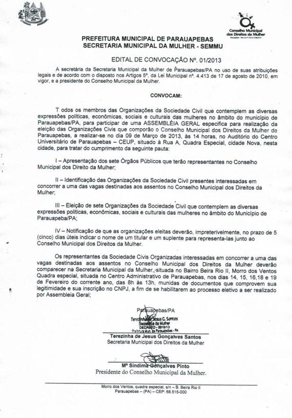 EDITAL DE CONVOCAÇÃO Nº01-2013