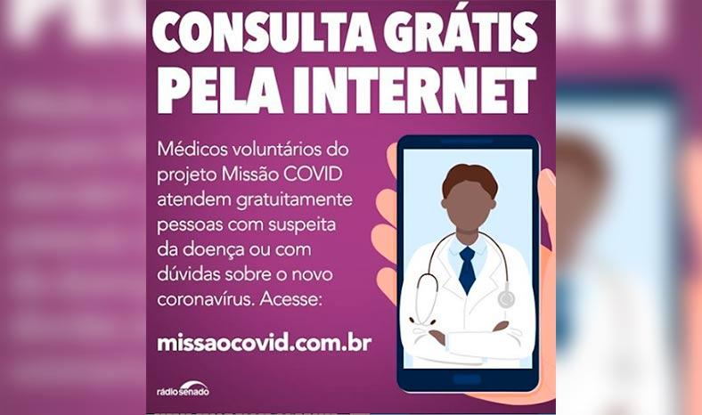 Médicos voluntários dão consulta gratuita a pacientes suspeitos da covid-19 em plataforma na internet
