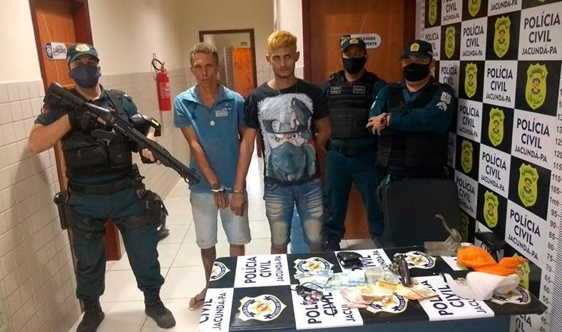 Dupla em atitude suspeita presa por porte ilegal de arma em Jacundá