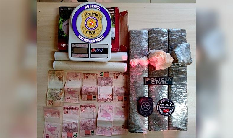 Polícia Civil flagra traficante com mais de três quilos e maconha e crack