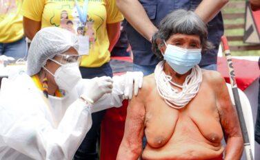 Primeira indígena vacinada no Pará tem 105 anos e pertence a etnia Gavião