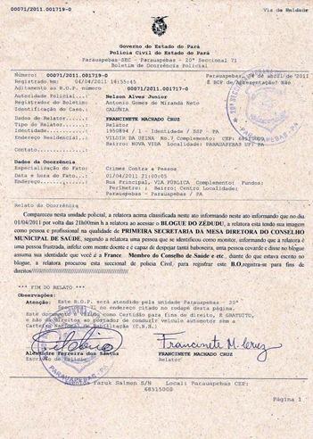 BOLETIM DE OCORRÊNCIA